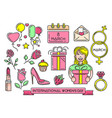 womens day multicolored icons set vector image