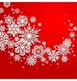 Abstract swirl of paper snowflakes on a red vector image vector image