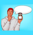 afro-american man drinking coffee pop art vector image vector image