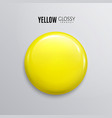 blank yellow glossy badge or button 3d render vector image vector image