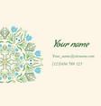 business card with floral ornament in indian style vector image vector image