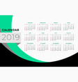 calendar template design for year 2019 vector image vector image