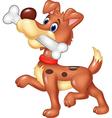 Cartoon funny dog with bone isolated vector image