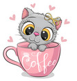 cartoon kitten with a bow is sitting in a cup of vector image