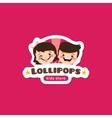 cartoon lollipops store logo vector image vector image