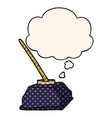 cartoon old ink pot and pen and thought bubble in vector image vector image