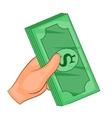 Cash in hand icon cartoon style vector image vector image