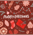 christmas greeting card flat lay design presents vector image