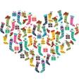 Christmas heart made of santa socks vector image vector image
