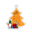 christmas tree and gnome with gifts gift tag vector image vector image