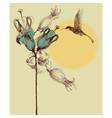 cute colibri invitation card retro style vector image vector image