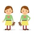 Cute little girl holding teddy bear vector image