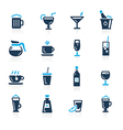 Drinks Icons Azure vector image vector image