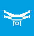 drone video camera icon white vector image