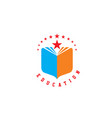 education book library school logo vector image vector image