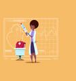 female doctor holding syringe medical clinics vector image