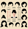 female face creator set dress up vector image vector image