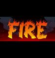 fire banner with text in flame and black smoke vector image vector image