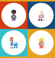 flat icon mam set of perambulator kid mother and vector image