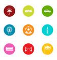 foggy albion icons set flat style