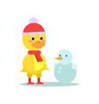 funny little yellow duckling with snowman cartoon vector image vector image