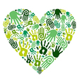 Go green hands love heart vector image vector image