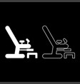 gynecological chair icon set white color flat vector image