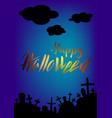 happy halloween greeting card spooky landscape vector image vector image
