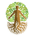 human athlete made as continuation of tree with vector image vector image