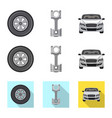 isolated object auto and part logo set auto vector image