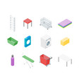 laundry room icon set isometric view vector image