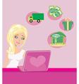 Online shopping girl vector image