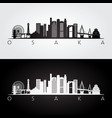 osaka skyline and landmarks silhouette vector image vector image