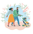 parents couple with cart baby in the park vector image