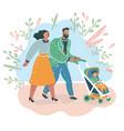 parents couple with cart bain park vector image