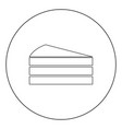 piece of cake black icon in circle isolated vector image vector image
