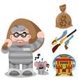 prisoner robber with a big bag of loot wild west vector image