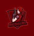 redhead girl with gun mascot logo vector image vector image