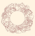 round frame with linear engraving graphic rose vector image vector image