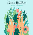 save nature earth day template design vector image vector image