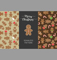 seamless pattern of different gingerbread men vector image
