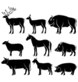 set monochrome wild and domestic animals vector image vector image