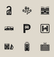 set of 9 editable hotel icons includes symbols vector image vector image