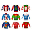 set of beautiful cute christmas sweaters vector image