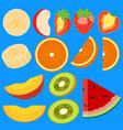set of fruit halves slices of apple peach kiwi vector image vector image