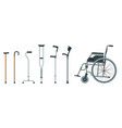 set of mobility aids including a wheelchair vector image vector image