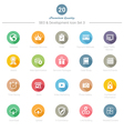 set round long shadow seo and development icons vector image vector image