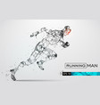 silhouette of a running man from particles vector image vector image
