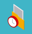 storage yellow folder with letter red clock vector image vector image