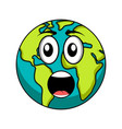 surprised earth emote earth day vector image vector image